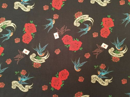 SWALLOWS /& ROSES COTTON FABRIC ON NAVY BACKGROUND DIGITALLY PRINTED