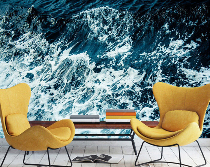 3D Waves Painted Wall Paper Print Decal Wall Deco Indoor wall Mural