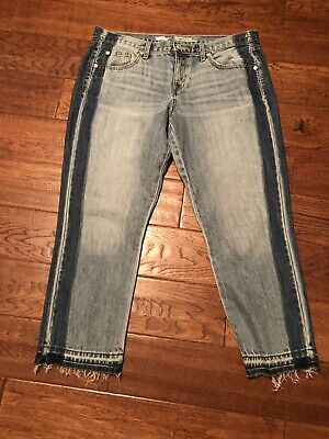 Clothing, Shoes & Accessories Mossimo Denim Mid Rise Boyfriend Crop Raw Hem Distressed Jeans Size 12/31
