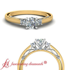 Details about Yellow Gold Bezel Set Round Cut Diamond Vintage Inspired  Engagement Ring 0.65 Ct