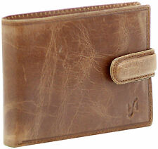 Starhide Mens Distressed Brown Leather Wallet ID & Coin Pocket Pouch 1212-Hunter