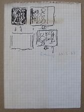 Massimo CAMPIGLI Disegno a pennarello Studi di dipinti cm 17x12 ARCHIVIATO 1967