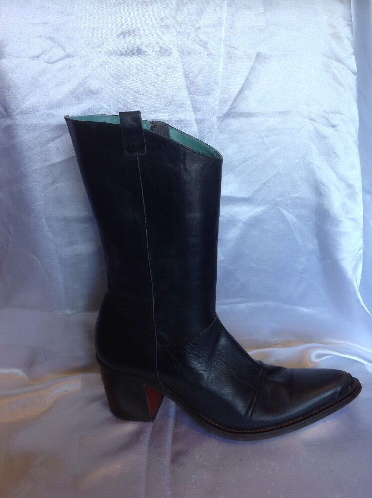 Dkny Jeans Dark bluee Mid Calf Leather Boots Size 7