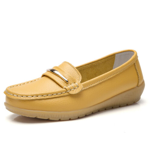 Women/'s Flats Casual Leather Slip-On Non-Slip Walk Outdoor Shoes Ten Colors UK 9