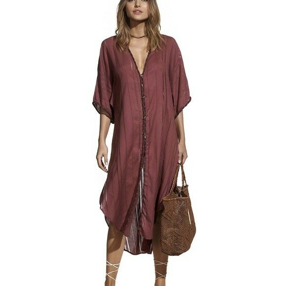 VIX PAULA HERMANNY Solid Braid open knit-trimmed cotton-gauze coverup S Small
