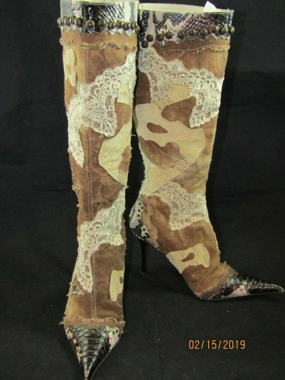 STEVE MADDEN  Womans Brown Leather & Denim Beaded Lace Knee High Boots Size 8
