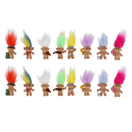 Dollhouse Miniature 16pc Retro Troll Doll Leprocauns Figure Cake Toppers