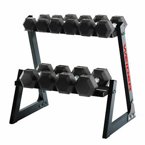 Weider-Fitness-200-Pound-Weights-Hand-Grip-Rubber-Hex-Dumbbell-Set-with-Rack