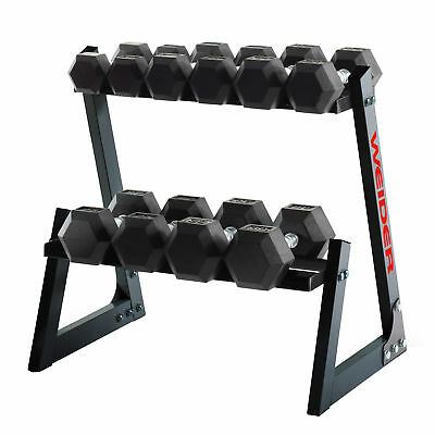Weider Fitness 200 Pound Weights Hand Grip Rubber Hex Dumbbell Set with Rack