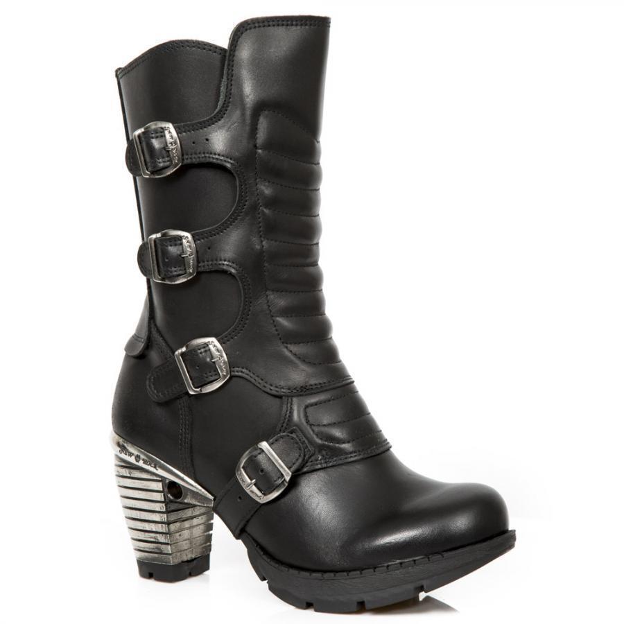 Bota de tacón PIEL NEW ROCK Negro Black leather heel boot M.TR003X-S2