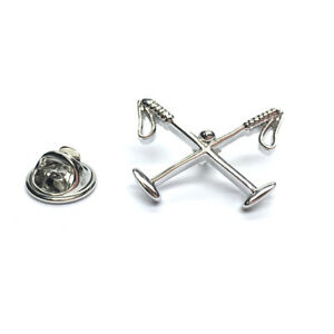 Crossed-Polo-Mallets-Rhodium-Plated-LAPEL-PIN-HAT-BADGE-PLAYER-Birthday-Present
