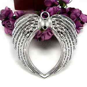 Wholesale 63x63mm Antique Silver Angel Wings Charm Pendant Jewelry Making