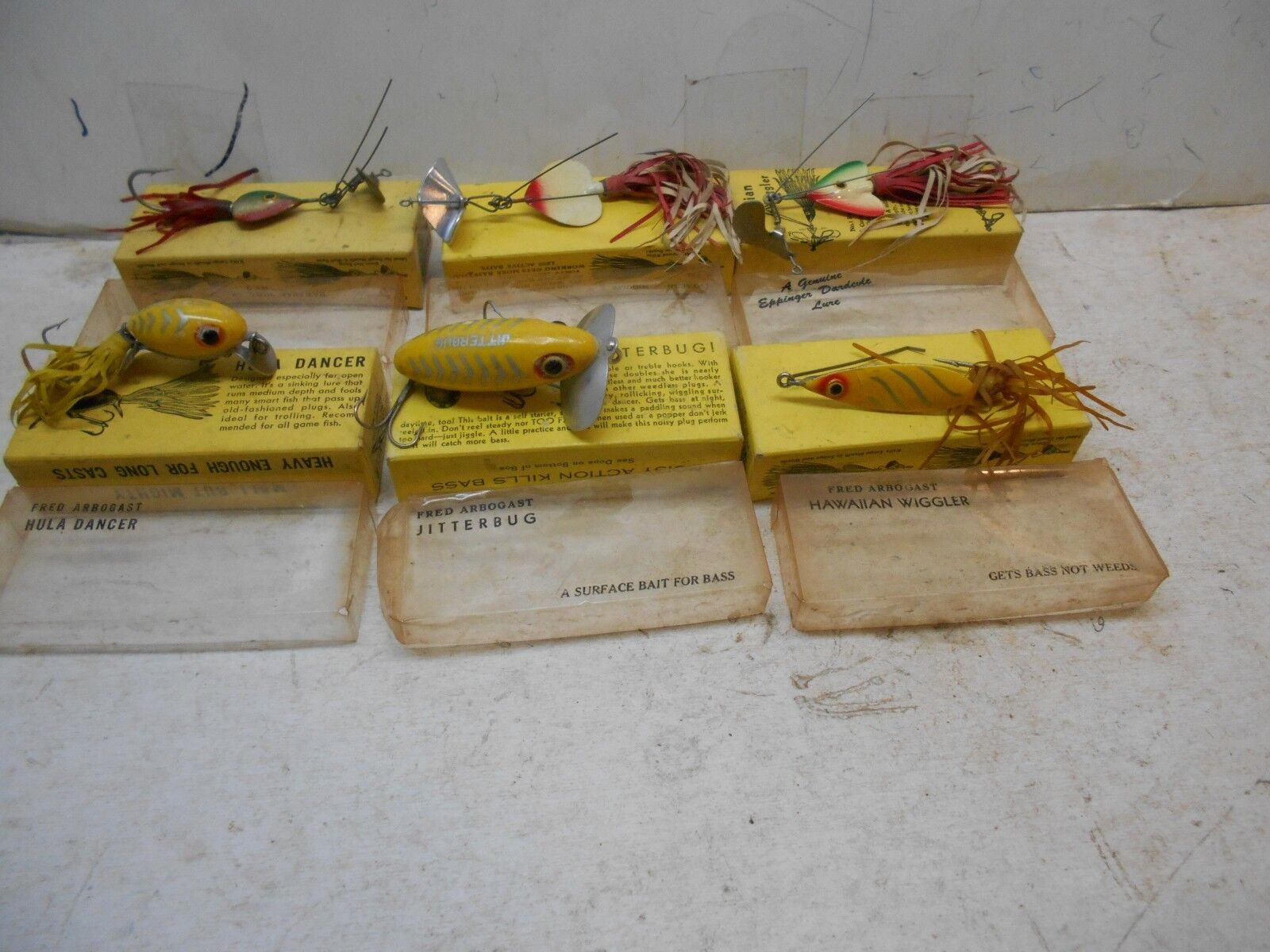 6 vintage Frot Arbrogast fishing lures with boxes fishing baits