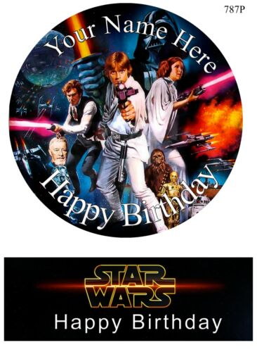Edible Round Cake Topper Star Wars Birthday wafer sheet icing sheet.97