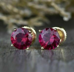 1-25Ct-Round-Red-Ruby-14k-Yellow-Gold-Over-Solitaire-Women-039-s-Stud-Earrings