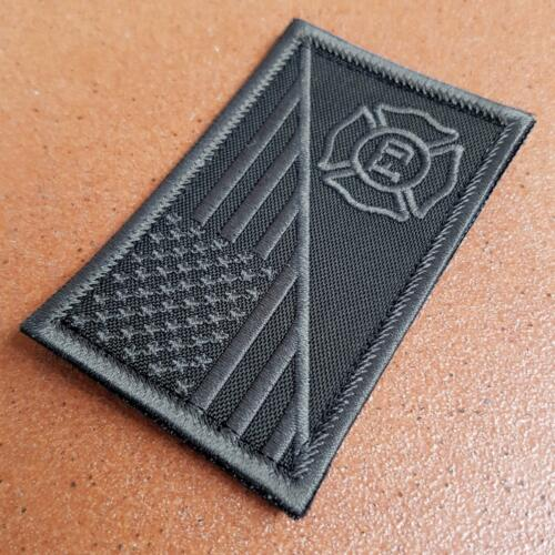 american USA flag firefighter fire department subdued black ACU hook patch