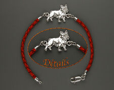 Bracelet Chien BOULEDOGUE FRANCAIS Argent & Cuir - Bracelet FRENCH BULLDOG DOG