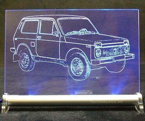 4x4 Gelände Lada Niva als AutoGravur auf LED Schild