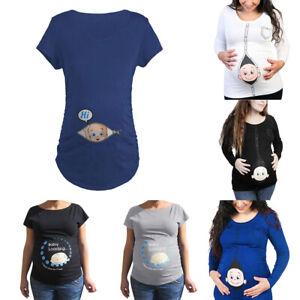 Pregnant-Lady-Women-039-s-Maternity-Baby-Loading-Feet-Funny-Print-T-shirt-Tops