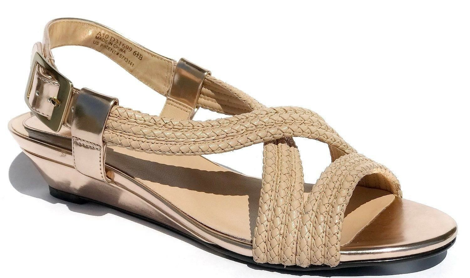 Cole Haan Womens Air Darleen Open Toe Braided Wedge shoes Beige 6.5 NEW IN BOX