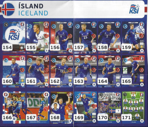 Panini Adrenalyn XL euro 2016 nr 154-171 Island Iceland para elegir