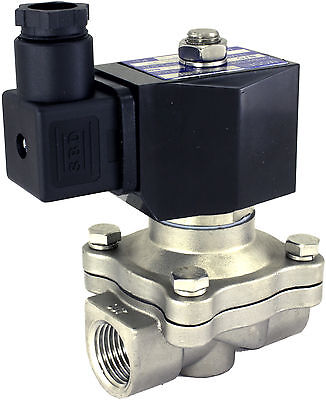 2-Way Stainless Steel Solenoid Valve Viton Seals Acid Alkali Oil Fuel Pneumatic