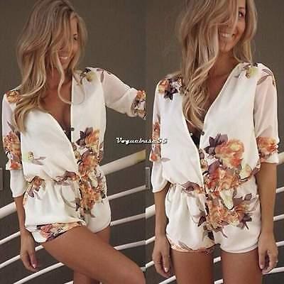 Damen Sexy V-Ausschnitt Weiß Floral Overall Jumpsuit Strandkleider Sommerkleid