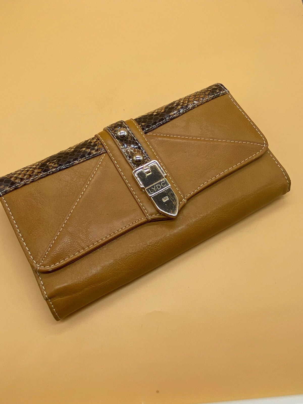 LYDC Brown Faux Leather, Snakeskin and Buckle Detail Ladies Purse