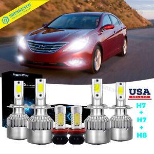 H11 Fog Ligh 6000K For HYUNDAI Sonata 2011-2014 6X LED H7 Headlight Hi-Lo Bulb