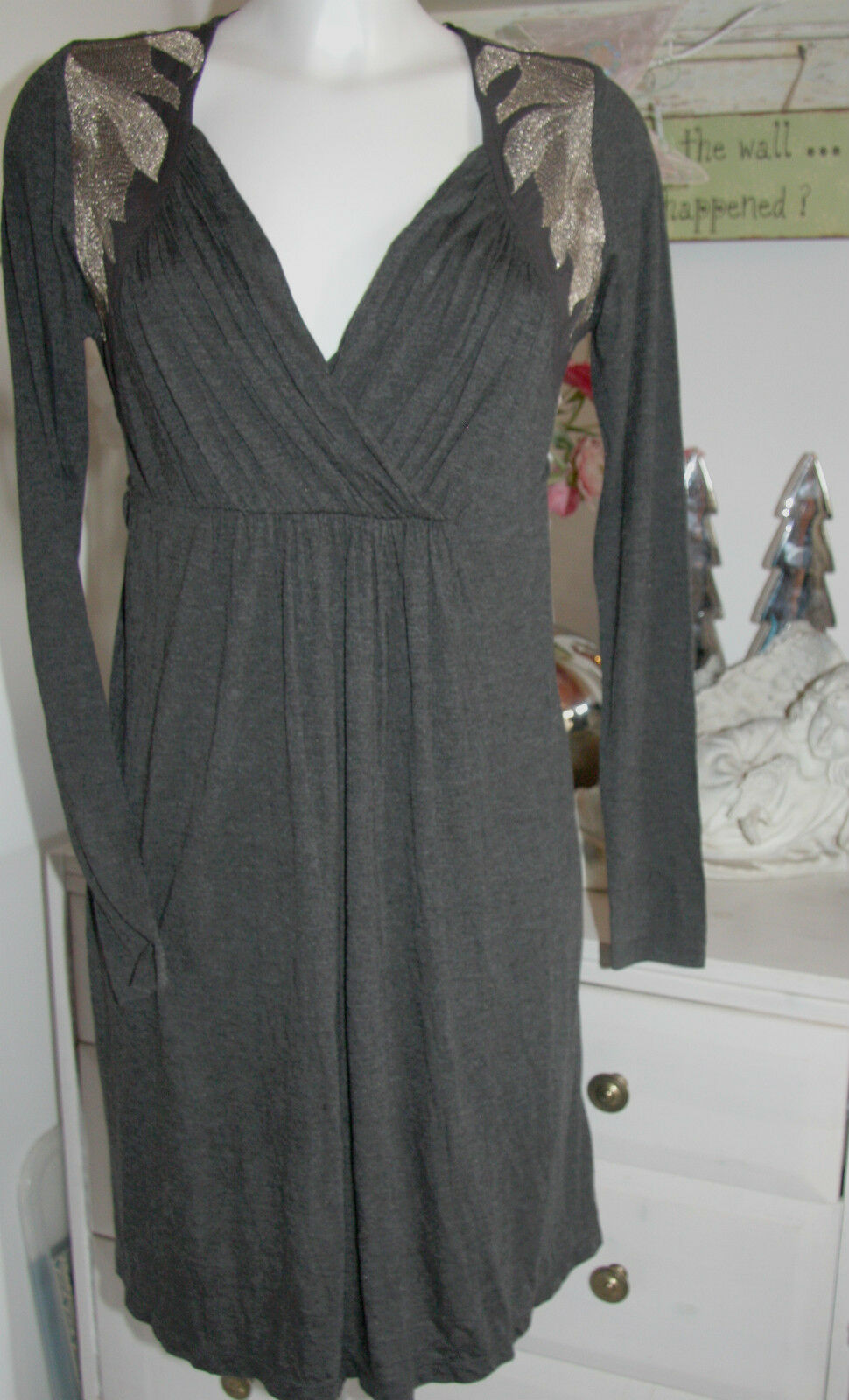 Cream DK Tunika Kleid  Zainab Dress  Antracite Melange  Langarm Größe  XS  Neu