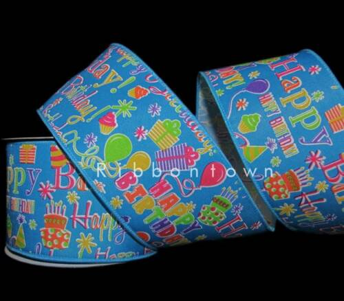 "10 Yards Happy Birthday Party Colorful Cake Balloons Blue Wired Ribbon 2 1//2/""W"