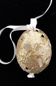 PETER PRIESS CHRISTMAS EGG; DIE CUT GOLD GLITTER STARS MOTIF CHRISTMAS ORNAMENT