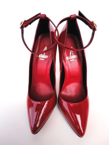 Strap Italy Decolte Red Rosso Patent Pumps Ankle Leather 5 Ernest 37 Heel Schuhe 5Ufwx