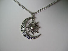 """New Sun And Moon Pendent Necklace Vintage Crescent Charm Necklace 22"""""""