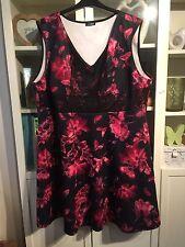 """I13 Yours Ltd Coll Plus Sz 26/28 Black Floral Lace Detail 40""""Long Dress"""