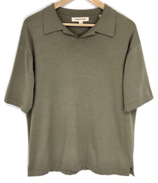Pronto Uomo Mens Polo Shirt Size Large Silk Viscose Short Sleeve Collar