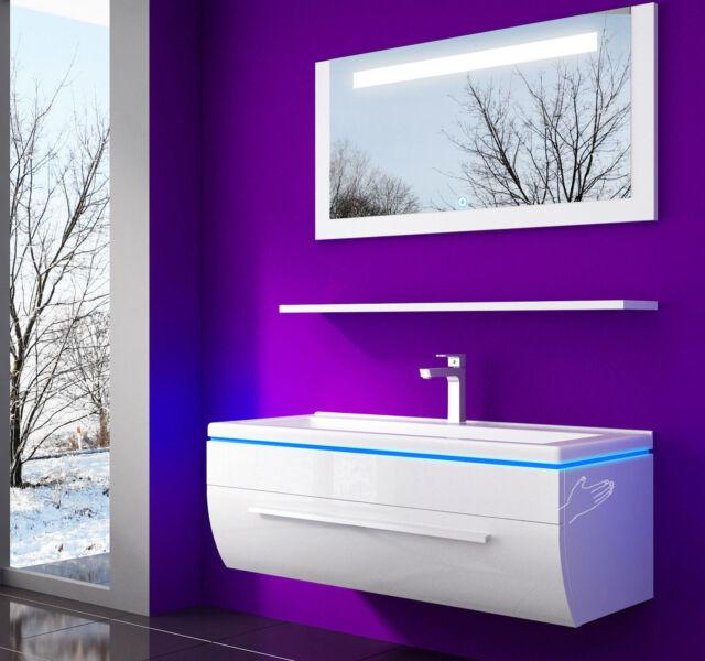 Badmöbel set 90 Cm WEISS lackiert komplett Hochglanz Badezimmermöbel  4teilig???