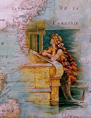 Vintage Mermaid on antique Map Nautical Quilting Fabric Block