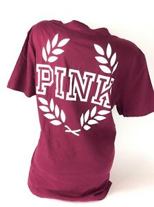 9b58ea2071bba Details about Victorias Secret Pink T Shirt Campus Crew Pocket Short Sleeve  Large NWT