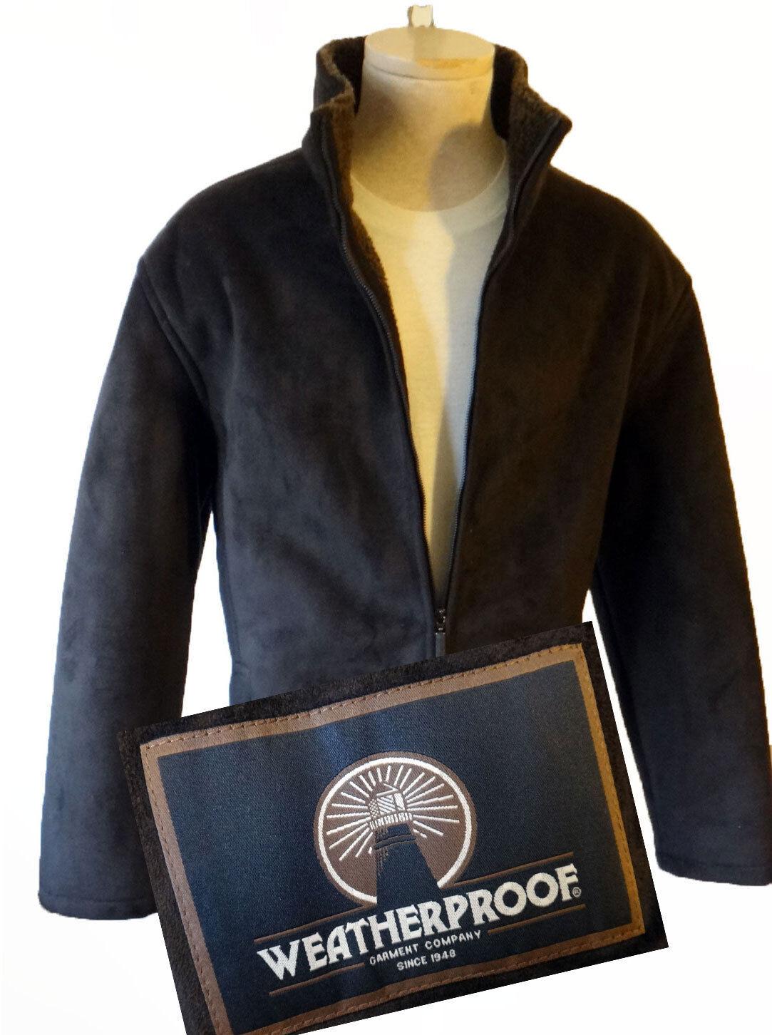 Weatherproof Microsuede faux vegan fur lined suede LARGE brown coat winter
