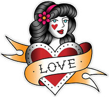 #345 Vintage Old School Tattoo Decal Woman With Love Banner Sailor Jerry Style