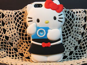iPHONE-4-4S-4G-034-HELLO-KITTY-W-CAMERA-CASE-034-3D-Soft-Cover-Protection-Black