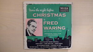 Decca-2-Record-Set-039-TWAS-THE-NIGHT-BEFORE-CHRISTMAS-Fred-Waring-45rpm-EP-1953