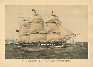 Details about LARGE VINTAGE PRINT of 19th CENTURY SAILING SHIP ~ THE  CLIPPER SHIP ANGLESEY