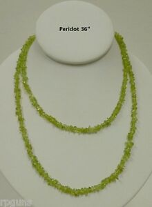 NATURAL-PERIDOT-CRYSTAL-CHIP-36-034-NECKLACE-August-Birthstone-Green-16-Anniversary