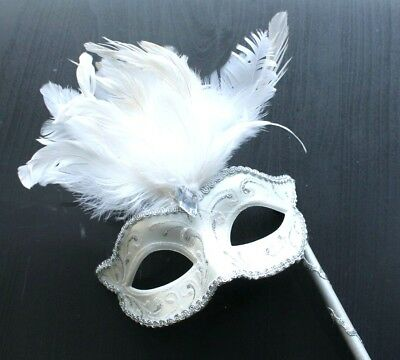 WINTER WHITE /& SILVER VENETIAN MASQUERADE PARTY EYE MASK ON A HAND HELD STICK