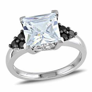 Sterling Silver Clear and Black Cubic Zirconia Engagement-style Cocktail Ring