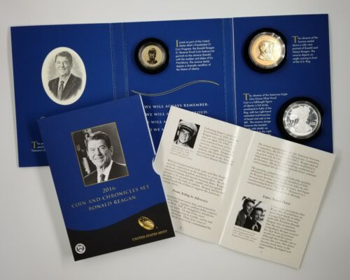 2016 Coin And Chronicles Ronald Reagan Set 2 Coins 1 Medal