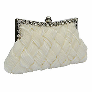 Image Is Loading Ivory Satin Crystal Bridal Wedding Prom Las Purse