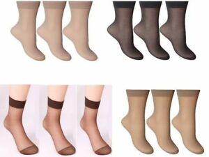 d40cb13db 6 Pairs Ladies ankle Tights Pop Socks 15 denier Comfort Top Size 4-7 ...